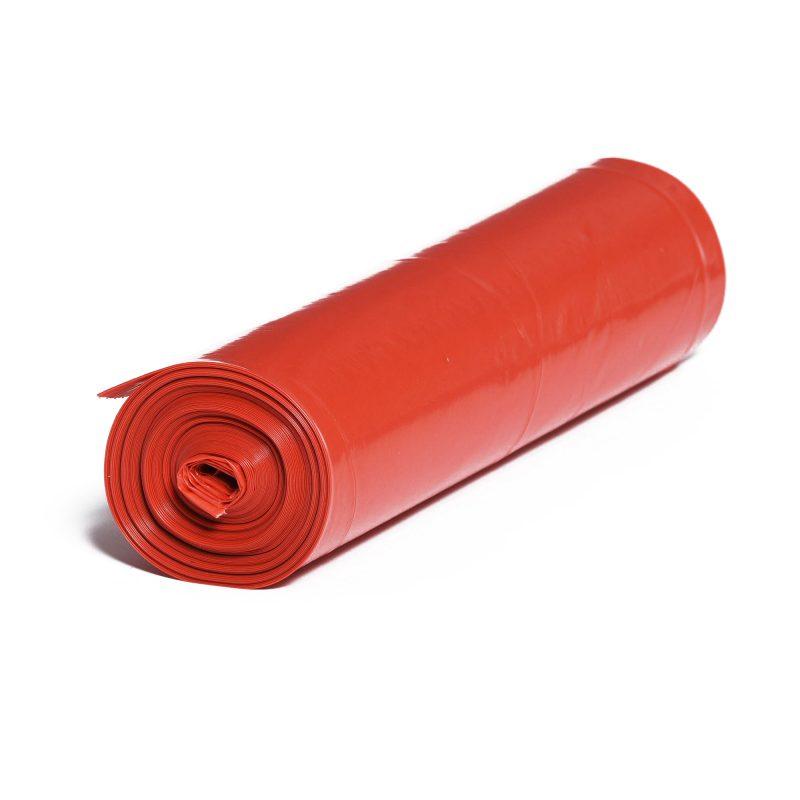 LDPE – Igelitové vrecia na odpad 600x800mm/0,03mm, červené, 70 litrov, 25 ks