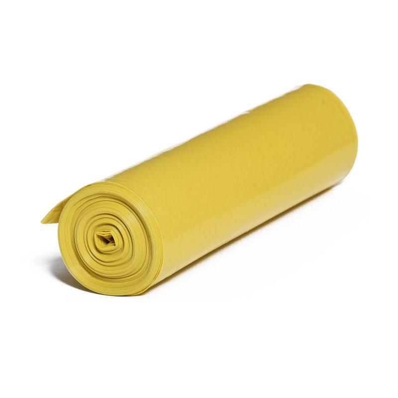 LDPE – Igelitové vrecia na odpad 600x800mm/0,03mm, žlté, 70 litrov, 25 ks