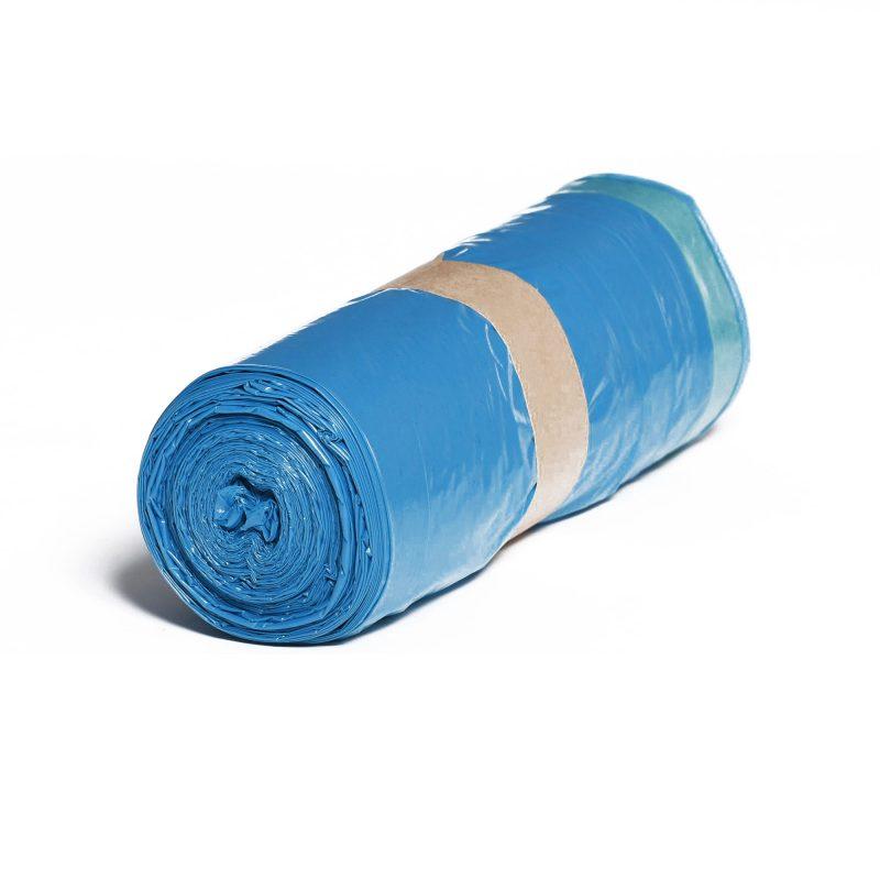 LDPE – Igelitové vrecia na odpad 700x1000mm/0,04mm zaťahovacie, modré, 110 litrov, 25 ks